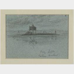 Walter Franklin Lansil (American, 1846-1925)  Bug Light, Boston Harbor.