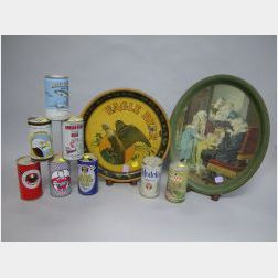 Five Lithographed Tin Serving Trays