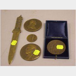 Four Commemorative Cast Bronze Medallions