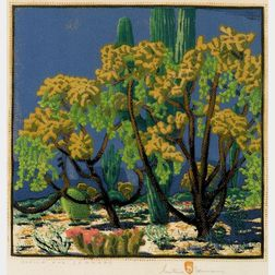 Gustave Baumann (German/American, 1881-1971)    Cholla and Sahuaro