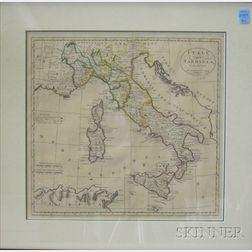 Framed Map of Italy and Sardinia