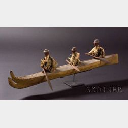Eskimo Hide and Wood Three-Person Kayak