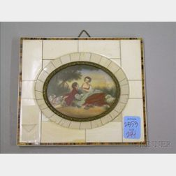 Framed Miniature Oval Hand-painted Picnic Scene with Dog and Sheep on Ivory