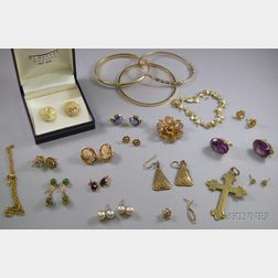 Assorted Mostly Gold Estate Jewelry