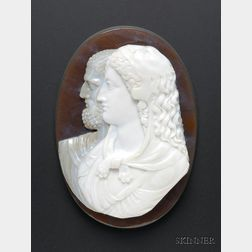 Fine Large Carved Banded Agate Cameo
