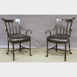 Pair of Modern Wrought Iron Armchairs