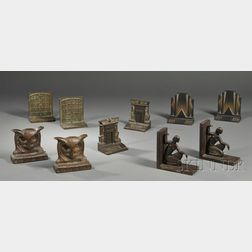 Five Pairs of Cast Metal Bookends