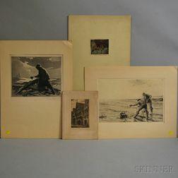 Four Signed Prints:      Gordon Hope Grant (American, 1875-1962), Fisherman at Sea