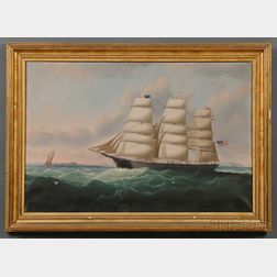 Attributed to William Howard Yorke (American, 1847-1921) Portrait of the American Clipper Ship HELEN CLINTON Captain Stephen C. Spra gu