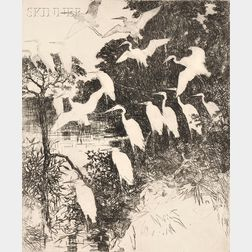 Frank Weston Benson (American, 1862-1951)      Heron Roost