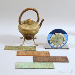 Telechron Desk Clock, a Gorham Brass Teapot, and Four Bronze Plaques