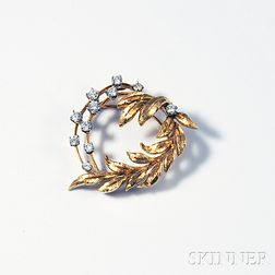 18kt Gold and Diamond Laurel Brooch