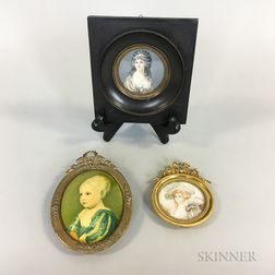 Three Framed Portrait Miniatures