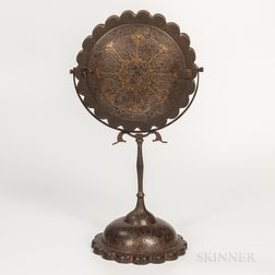 Qajar Gold and Silver Damascened Mirror Case on Stand