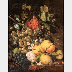 Dutch or German School, 19th Century Style      Still Life with Fruits, Flowers, and Insects