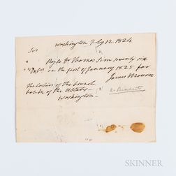 Monroe, James (1758-1831) Autograph Note Signed, Washington DC, 12 July 1824.