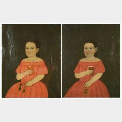 Attributed to William Matthew Prior (New England and Baltimore, 1860-1873)  Portraits of Millie and Lottie Darling