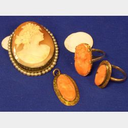 Carved Shell Cameo Brooch with Seed Pearl Surround, Two 10kt and Carved Coral Rings, and a Similar Pendant.