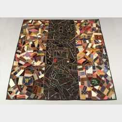 Embroidered Silk and Velvet Crazy Quilt