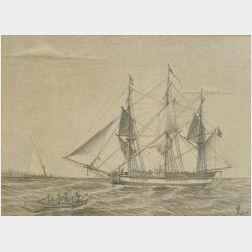 William Pratt, Jr. (American, 19th Century)  The Iris   of Kennebunk/A Ship Portrait.