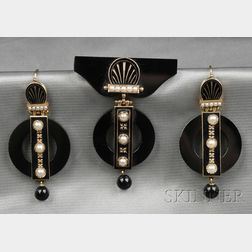 Victorian Onyx, Split Pearl, and Enamel Suite