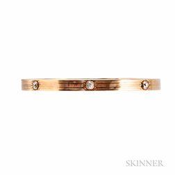 Art Nouveau 14kt Gold and Diamond Bangle Bracelet, Sloan & Co.