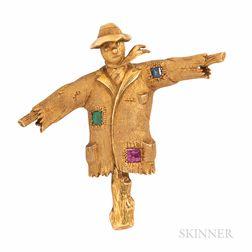 18kt Gold Gem-set Scarecrow Brooch