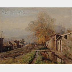Alfredo Helsby (Chilean, 1862-1933)      A Muddy Road (near Santiago)