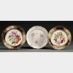Pair of Jacob Petit Porcelain Botanical Decorated Plates