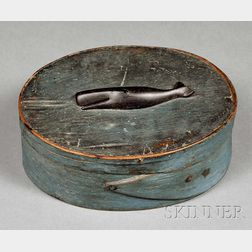 Blue-painted Oval Covered Box with Carved Ebony Whale