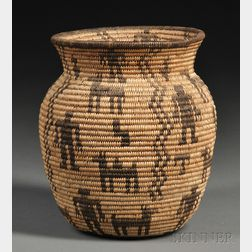 Diminutive Apache Pictorial Basketry Olla