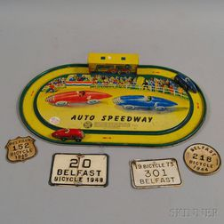 """Lithographed Tin """"Auto Speedway"""" Toy Car Game"""