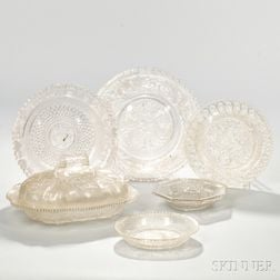 Six Pieces of Colorless Lacy Glass