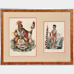 Two Color Lithographs of American Indians a Common Frame