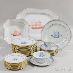 "Large Group of Copeland Spode ""Trade Winds Blue"" Porcelain Tableware.     Estimate $200-250"