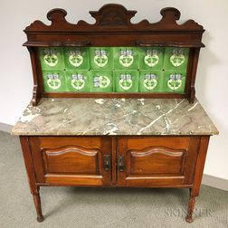 French Fruitwood Marble-top Server with Tiled Gallery