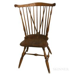 Turned and Carved Braced Fan-back Windsor Side Chair