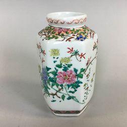 Hexagonal Polychrome Enameled Vase