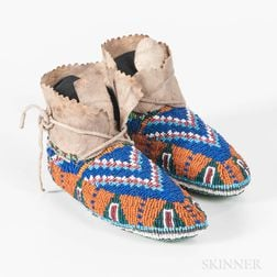 Pair of Plains Fully Beaded Child's Moccasins