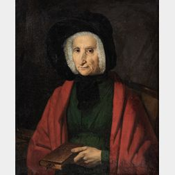 French School, 19th Century      Portrait of a Woman Holding a Book