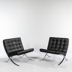 Two Mies Van der Rohe (German, 1886-1969) for Knoll Barcelona Chairs