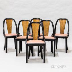 Set of Six Art Deco Upholstered Part-ebonized Dining Chairs