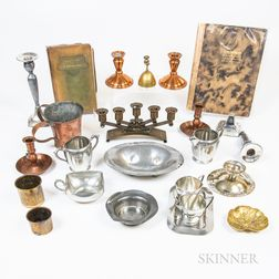 Group of Arts and Crafts Metal Tableware and Two Elbert Hubbard Books