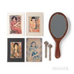 Group of Asian Ephemera, a Hand Mirror, and a Pair of Silver-plated Hairpins