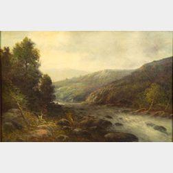 Ludwig Fischer (Austrian, 1825-1893)    Rapids in a Mountain Valley