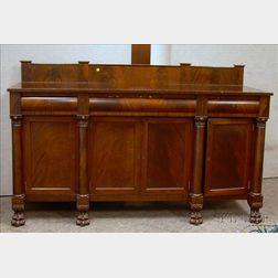 Classical-style Carved Mahogany and Mahogany Veneer Sideboard
