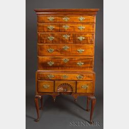 Queen Anne Carved Tiger Maple High Chest of Drawers