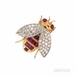 18kt Gold, Platinum, Ruby, and Diamond Bee Brooch
