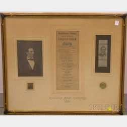 Framed Group of 1860 Abraham Lincoln First Presidential Campaign Related Items