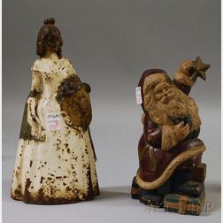 Painted Cast Iron Southern Belle Doorstop and a Modern Santa Claus Doorstop